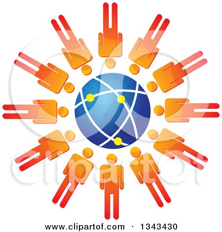Clipart of a Teamwork Unity Circle of Orange Men Around a Blue Globe - Royalty Free Vector Illustration by ColorMagic