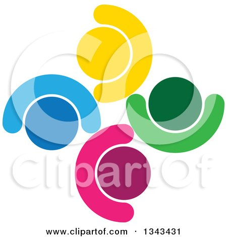 Clipart of a Teamwork Unity Circle of Colorful People Cheering or Dancing 62 - Royalty Free Vector Illustration by ColorMagic