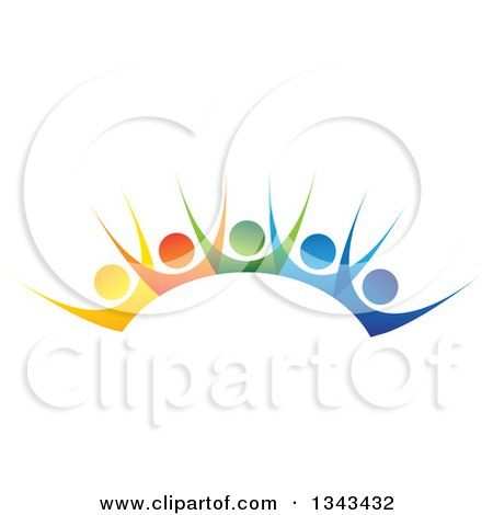 Clipart of a Teamwork Unity Group of Colorful People Cheering - Royalty Free Vector Illustration by ColorMagic