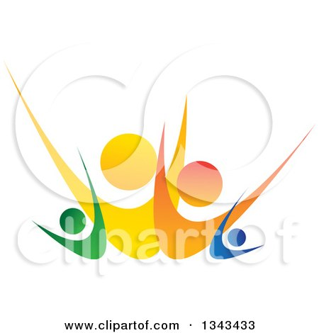Clipart of a Colorful Happy Family Cheeering - Royalty Free Vector Illustration by ColorMagic