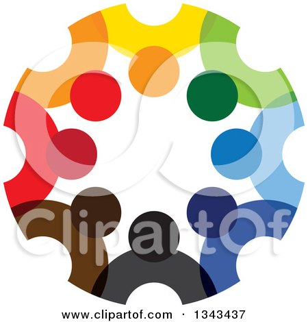 Clipart of a Teamwork Unity Circle of Colorful People 58 - Royalty Free Vector Illustration by ColorMagic