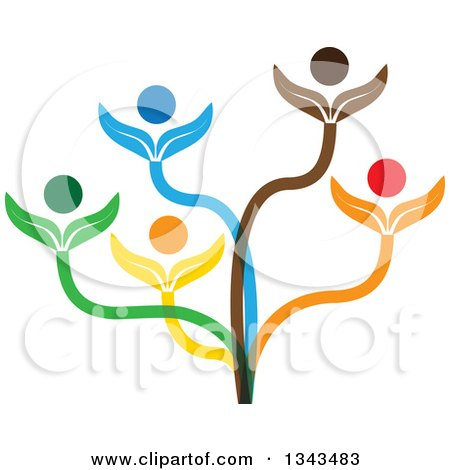 Clipart of a Teamwork Unity Group of Colorful People on a Plant - Royalty Free Vector Illustration by ColorMagic
