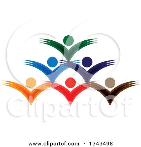 Clipart of a Teamwork Unity Group of Colorful People Cheering 7 - Royalty Free Vector Illustration by ColorMagic