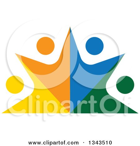 Clipart of a Teamwork Unity Group of Colorful People Cheering 10 - Royalty Free Vector Illustration by ColorMagic