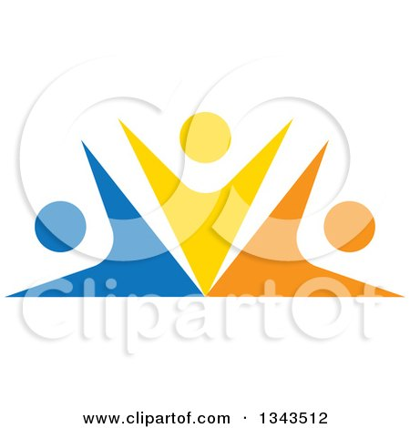 Clipart of a Teamwork Unity Group of Colorful People Cheering 11 - Royalty Free Vector Illustration by ColorMagic