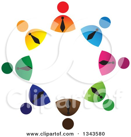 Clipart of a Teamwork Unity Circle of Colorful Business Men - Royalty Free Vector Illustration by ColorMagic