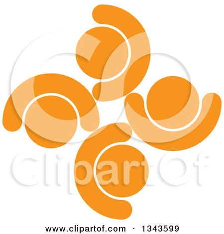 Clipart of a Teamwork Unity Circle of Cheering Orange People - Royalty Free Vector Illustration by ColorMagic