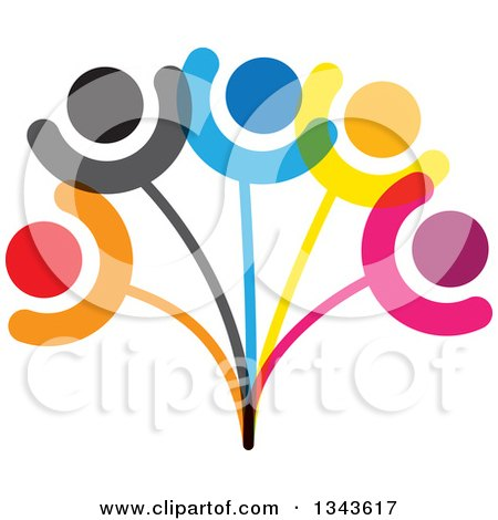 Clipart of a Teamwork Unity Group of Colorful People on a Plant 2 - Royalty Free Vector Illustration by ColorMagic