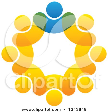 Clipart of a Teamwork Unity Circle of Blue and Orange People - Royalty Free Vector Illustration by ColorMagic