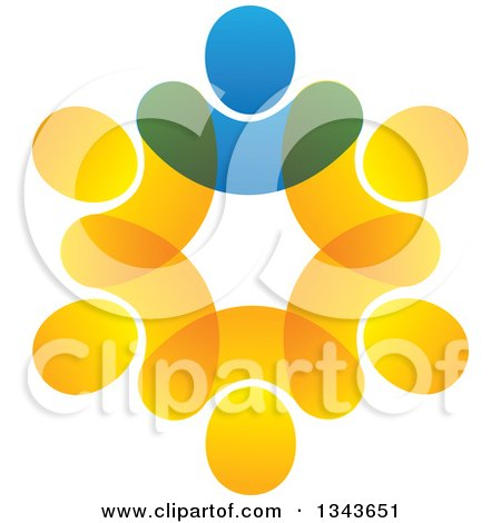 Clipart of a Teamwork Unity Circle of Blue and Orange People 2 - Royalty Free Vector Illustration by ColorMagic