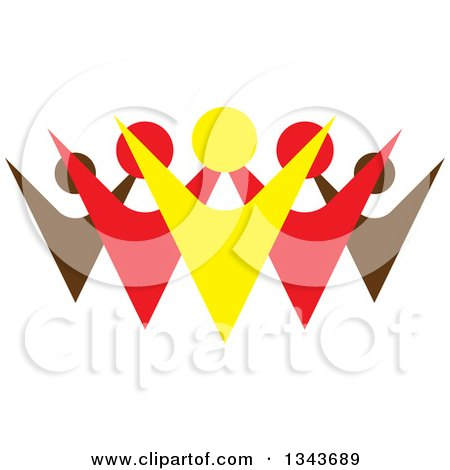 Clipart of a Teamwork Unity Group of Colorful People Cheering 9 - Royalty Free Vector Illustration by ColorMagic