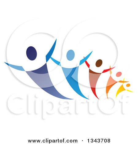 Clipart of a Group of Blue Red Orange and Yellow People Dancing or Cheering - Royalty Free Vector Illustration by ColorMagic