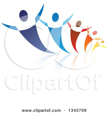Clipart of a Group of Blue Red Orange and Yellow People Dancing or Cheering, with Reflections - Royalty Free Vector Illustration by ColorMagic