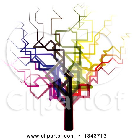 Clipart of a Funky Colorful Bare Tree - Royalty Free Vector Illustration by ColorMagic