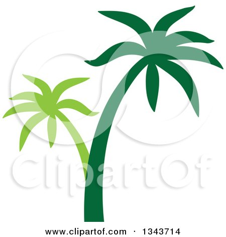 Clipart Of A Two Toned Palm Tree Silhouette Royalty Free Vector Illustration