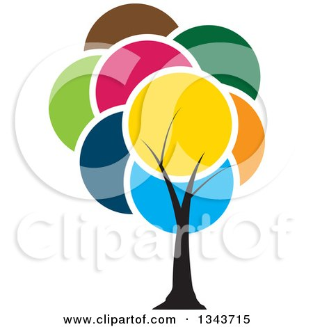 Clipart Of A Tree With A Canopy Of Colorful Circles Royalty Free Vector Illustration