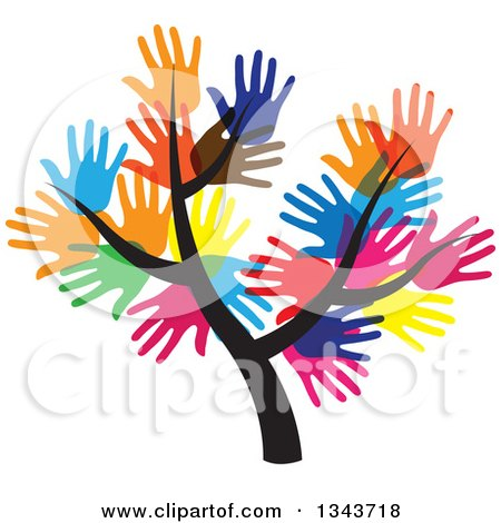 Clipart Of A Tree With A Canopy Of Colorful Hands Royalty Free Vector Illustration