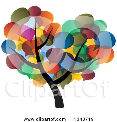 Clipart of a Tree with a Colorful Speech Balloon Canopy - Royalty Free Vector Illustration by ColorMagic