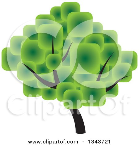 Clipart of a Tree with a Canopy Made of Green Squares - Royalty Free Vector Illustration by ColorMagic