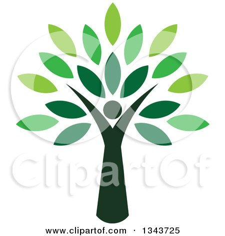 Clipart of a Woman Forming the Trunk of a Tree with Green Leaves - Royalty Free Vector Illustration by ColorMagic