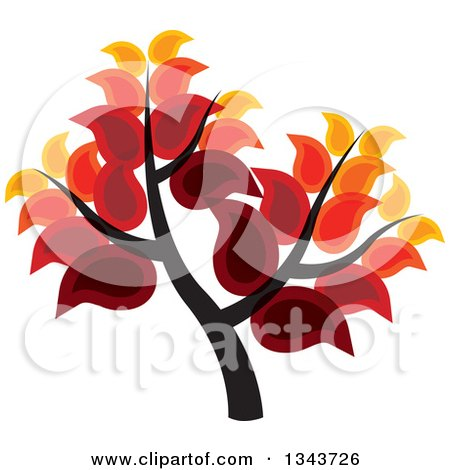 Clipart of a Tree with Rich Autumn Colored Leaves - Royalty Free Vector Illustration by ColorMagic