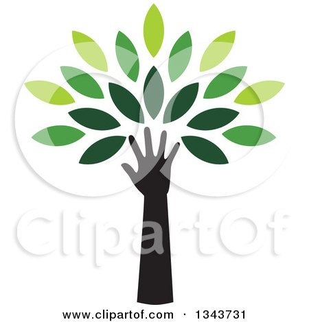 Clipart of a Black Silhouetted Hand and Arm Forming the Trunk of a Tree with Green Leaves - Royalty Free Vector Illustration by ColorMagic