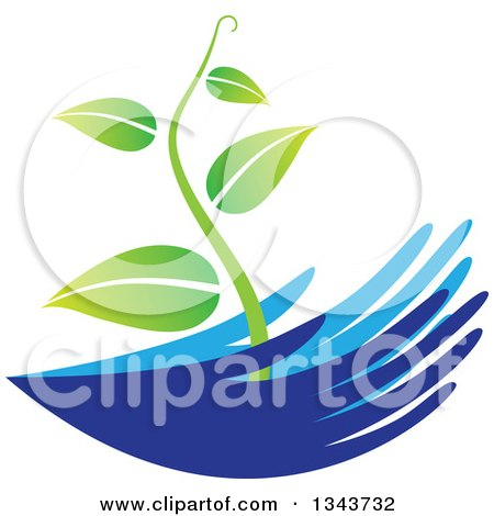 Clipart of Blue Nurturing Hands Holding a Green Vine - Royalty Free Vector Illustration by ColorMagic