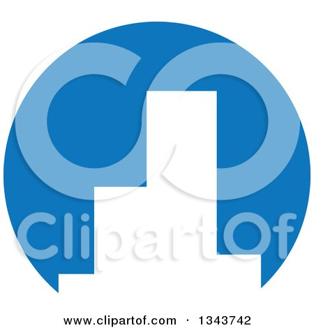 Clipart Of White Silhouetted City Skyscraper Buildings In A Blue Circle Royalty Free Vector Illustration