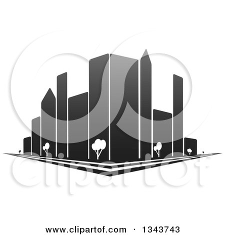 Clipart of a City Street Corner with Grayscale Skyscraper Buildings and Trees - Royalty Free Vector Illustration by ColorMagic