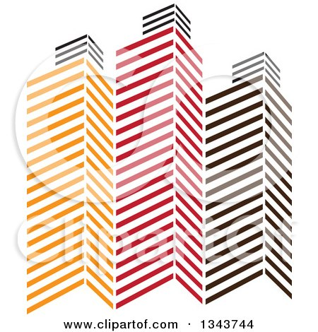 Clipart of Red Orange and Black City Skyscraper Buildings 4 - Royalty Free Vector Illustration by ColorMagic