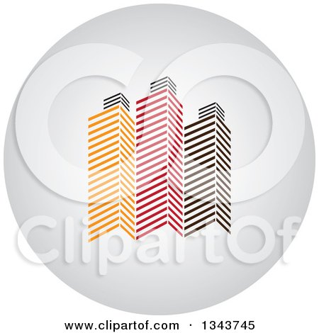 Clipart of a Shaded Circle App Icon Button Design Element with Skyscrapers 2 - Royalty Free Vector Illustration by ColorMagic