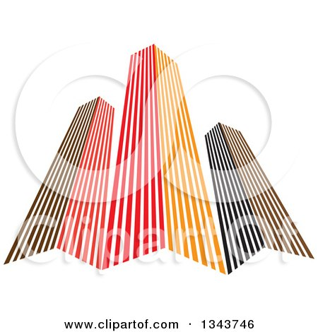 Clipart Of Red Orange And Black City Skyscraper Buildings 3 Royalty Free Vector Illustration