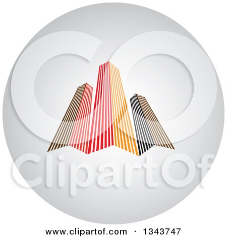 Clipart of a Shaded Circle App Icon Button Design Element with Skyscrapers - Royalty Free Vector Illustration by ColorMagic