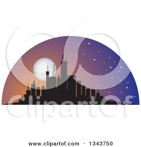 Clipart of a Silhouetted City Skyscraper Skyline with a Full Moon - Royalty Free Vector Illustration by ColorMagic