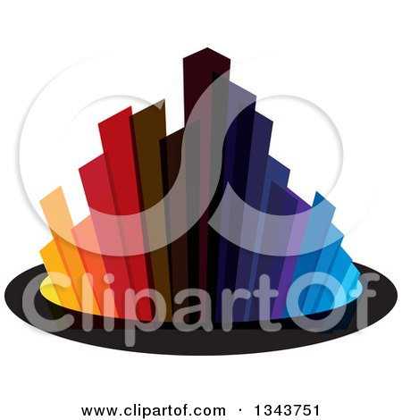 Clipart of a Colorful City with Tall Skyscraper Buildings 3 - Royalty Free Vector Illustration by ColorMagic