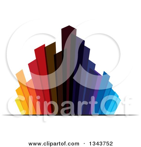 Clipart of a Colorful City with Tall Skyscraper Buildings 4 - Royalty Free Vector Illustration by ColorMagic