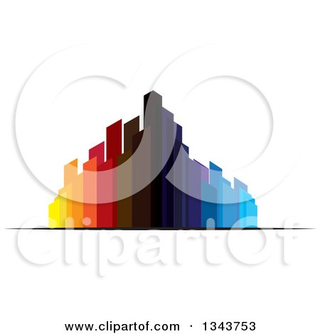 Clipart of a Colorful City with Tall Skyscraper Buildings 5 - Royalty Free Vector Illustration by ColorMagic