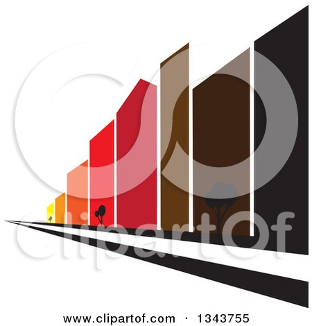 Clipart of a City Street with Colorful Tall Skyscraper Buildings - Royalty Free Vector Illustration by ColorMagic