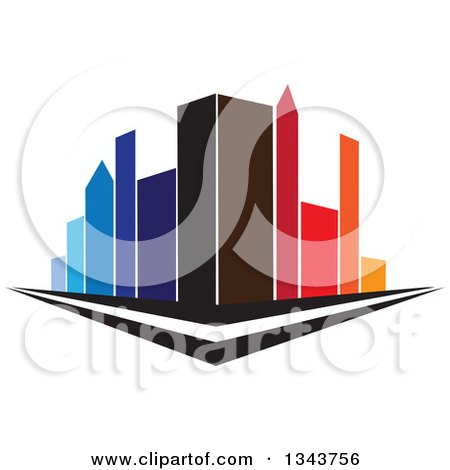 Clipart of a City Street Corner with Colorful Tall Skyscraper Buildings - Royalty Free Vector Illustration by ColorMagic
