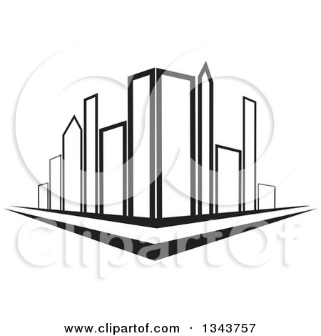 Clipart of a City Street Corner with Black and White Skyscraper Buildings - Royalty Free Vector Illustration by ColorMagic