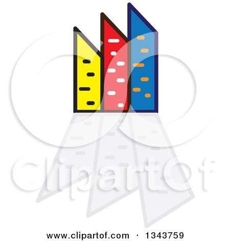Clipart of a Colorful City with Tall Skyscraper Buildings and Reflections 2 - Royalty Free Vector Illustration by ColorMagic