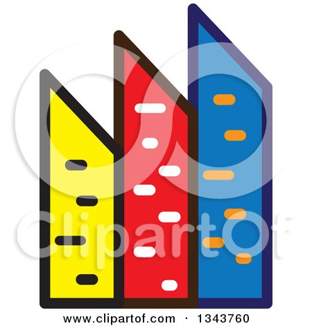 Clipart of a Colorful City with Tall Skyscraper Buildings 2 - Royalty Free Vector Illustration by ColorMagic