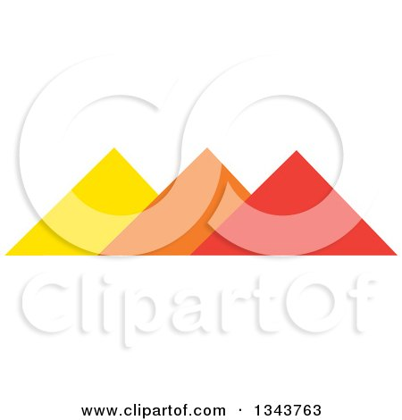 Clipart of Pyramids in Orange Yellow and Red - Royalty Free Vector Illustration by ColorMagic