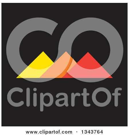 Clipart of Pyramids in Orange and Red on Black - Royalty Free Vector Illustration by ColorMagic