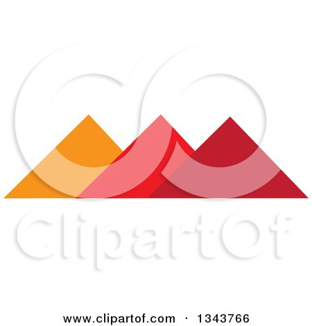 Clipart of Pyramids in Orange and Red - Royalty Free Vector Illustration by ColorMagic