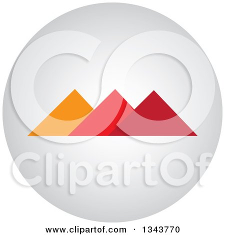 Clipart of a Round Shaded App Icon Button Design Element of Pyramids - Royalty Free Vector Illustration by ColorMagic