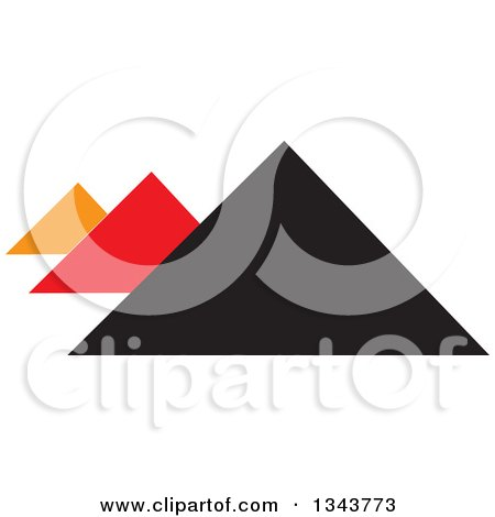 Clipart of Pyramids in Orange Black and Red - Royalty Free Vector Illustration by ColorMagic