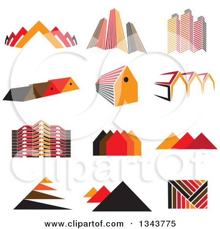 Clipart of Pyramids, City Buildings and Houses - Royalty Free Vector Illustration by ColorMagic