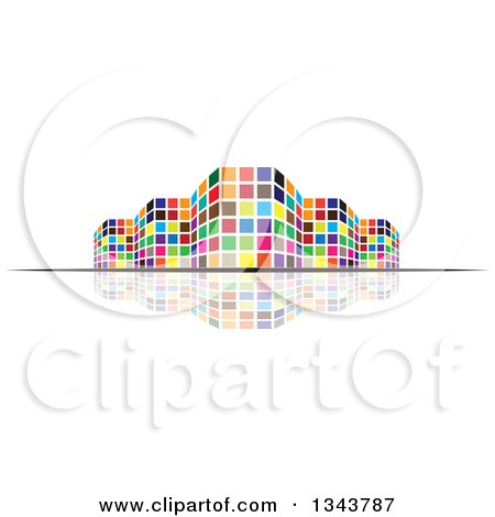 Clipart of a Colorful City Building and Reflection - Royalty Free Vector Illustration by ColorMagic