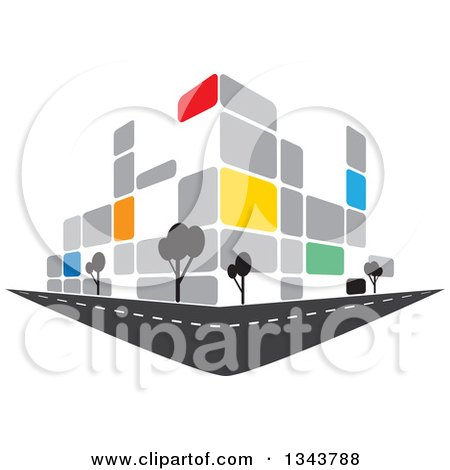Clipart of a Colorful Street Corner City Building with Trees - Royalty Free Vector Illustration by ColorMagic